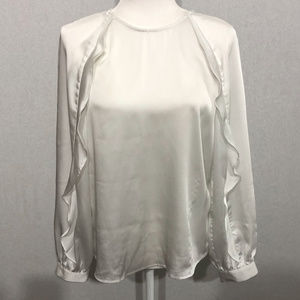 Banana Republic White Ruffle Blouse Size S